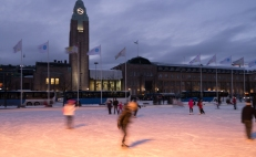 Ice skating in front of railway station