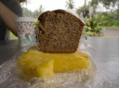 Delicious food: Banana bread and pineapple so fresh