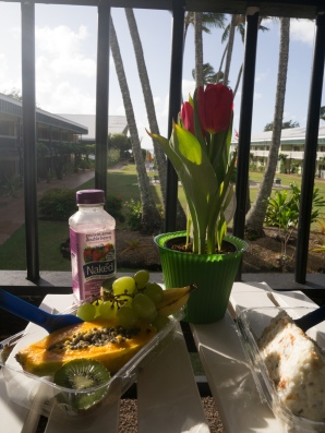 Birthday breakfast with view to the ocean. No, I'm not in a prison :P