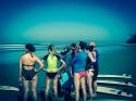 Surf instructor explains us the beach