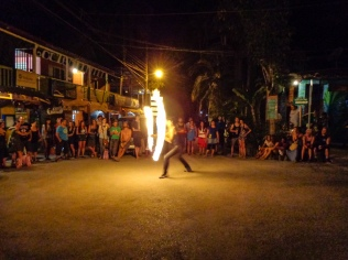 Thursday night Poi show at the main intersection in town