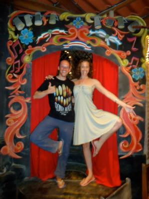 Yoga pose with Nicole in my favourite italian restaurant in Montezuma