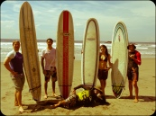 Surfing with Paul, Marc and Petra and our surf instructor Pablo