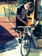 "Andreas checks his ""new"" bike for the week"