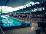 Swimmers in line to get ready for their start