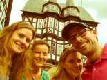 """Tabea, Irene, my sister and me in front of the famous """"Alsfeld"""" town hall"""