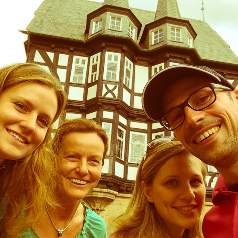 "Tabea, Irene, my sister and me in front of the famous ""Alsfeld"" town hall"