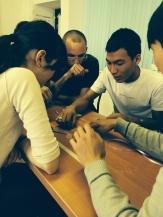 Students playing the Marshmallow game