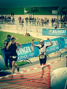 Crossing the finish line at my first Triathlon competition
