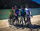 Great group on our 70km cycle ride: Katrin, Daniel, Norman to Lims Fjord, Croatia